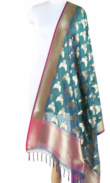 Teal Art Silk Banarasi Dupatta with bird pair motifs ZISSRVDAS656 (1) Main