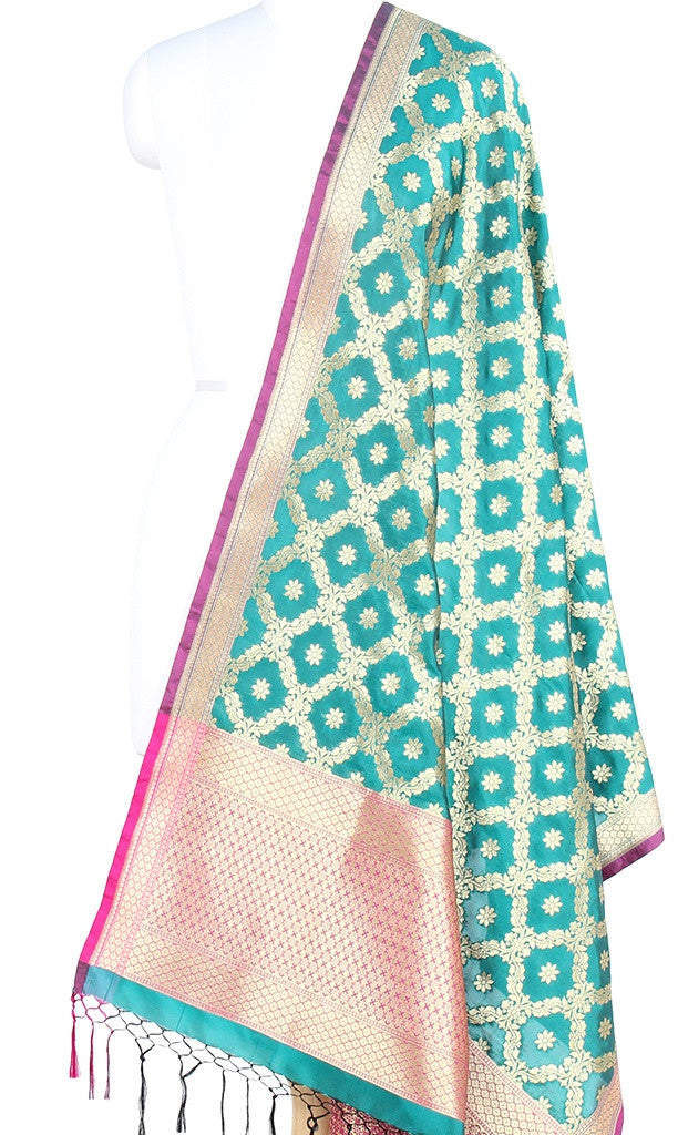 Teal Art Silk Banarasi Dupatta with leaf jaal and floral motifs (PCRVDAS59) (1) Main