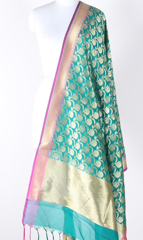 Teal Art Silk Banarasi dupatta with flower jaal and magenta edge SSJB01N122 (1) Main