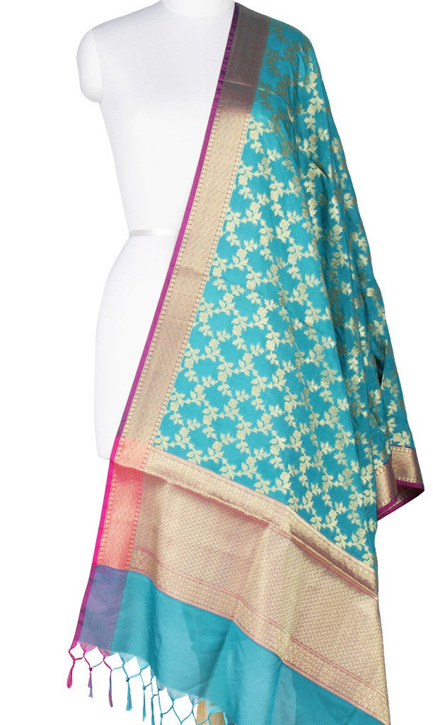 Turquoise Art Silk Banarasi Dupatta with Aesthetic floral jaal Main Image