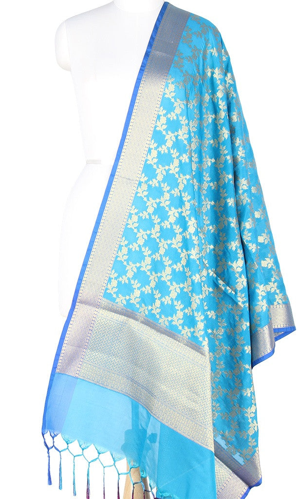 Turquoise Art Silk Banarasi Dupatta with Aesthetic floral jaal with blue edge PCRVD01N66 (1) MAIN