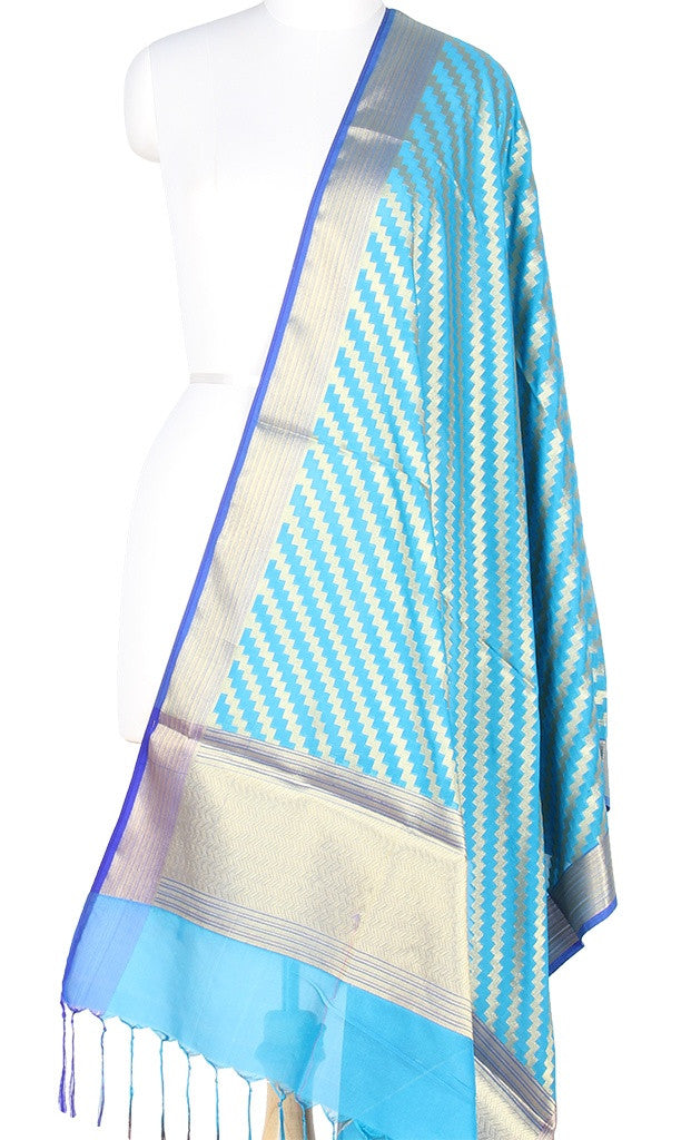 Turquoise Art Silk Banarasi Dupatta with diagonal zigzag stripes with blue edge PCRVD01N84 (1) Main
