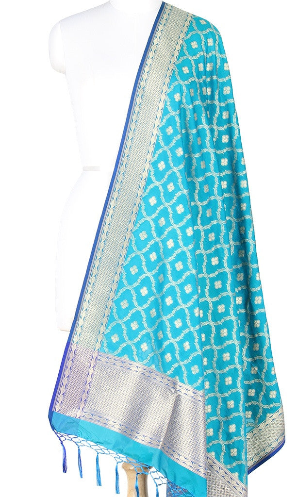 Turquoise Art Silk Banarasi Dupatta with dual color zari jaal PCRVD04GJ02 (1) Main