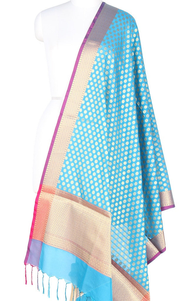 Turquoise Art Silk Banarasi Dupatta with mini polka dots and zari work PCRVD01N86 (1) Main
