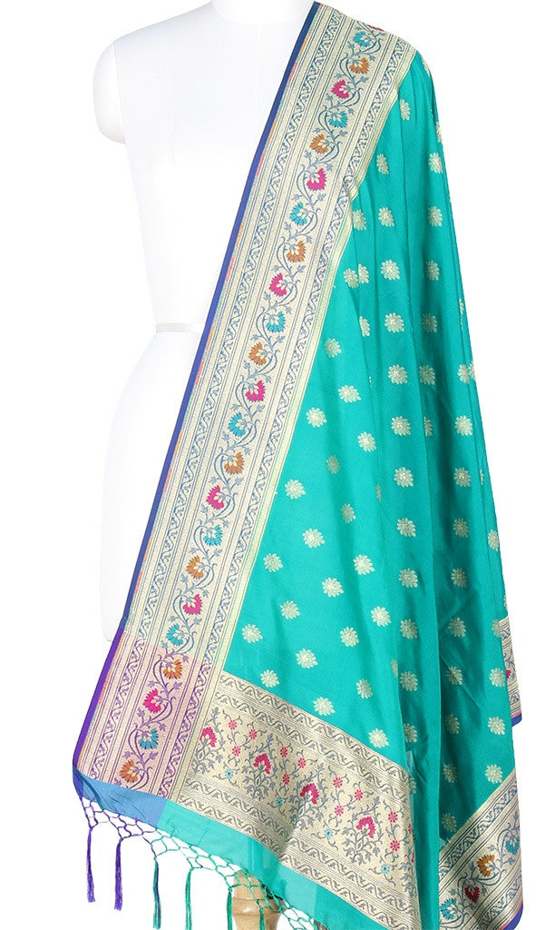 Turquoise Art Silk Banarasi Dupatta with multi color border PCRVD05TG03 (1) Main
