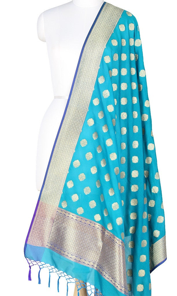 Turquoise Art Silk Banarasi Dupatta with round floral motifs with blue edge PCRVD03GB03 (1) Main