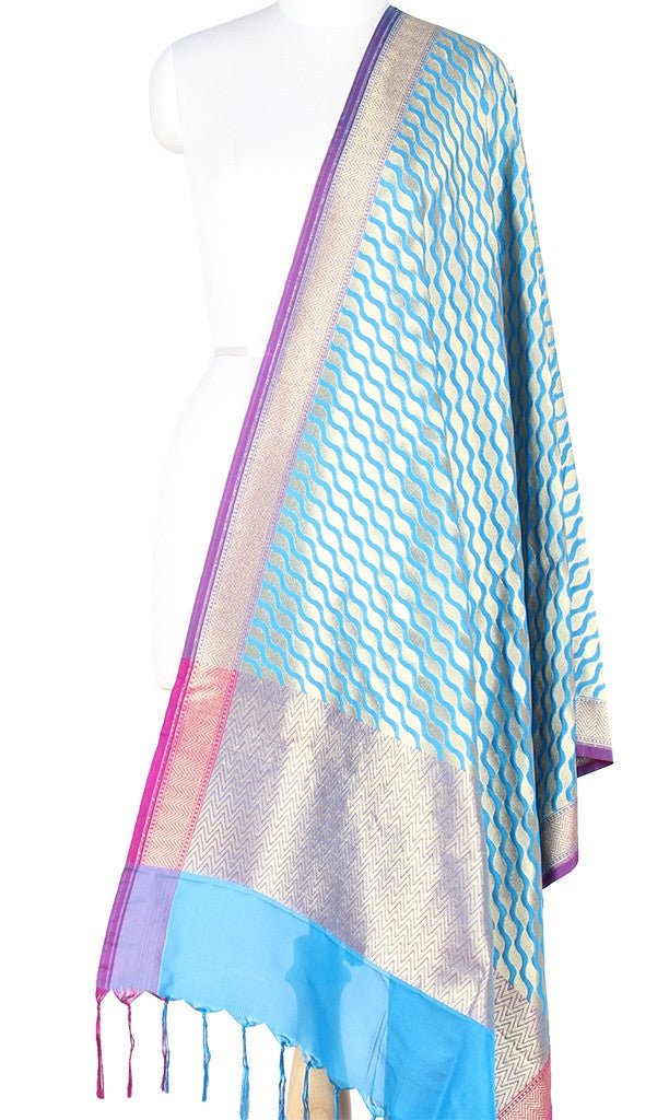 Turquoise Art Silk Banarasi Dupatta with stylized diagonal jaal PCJB01N61 (1) MAIN