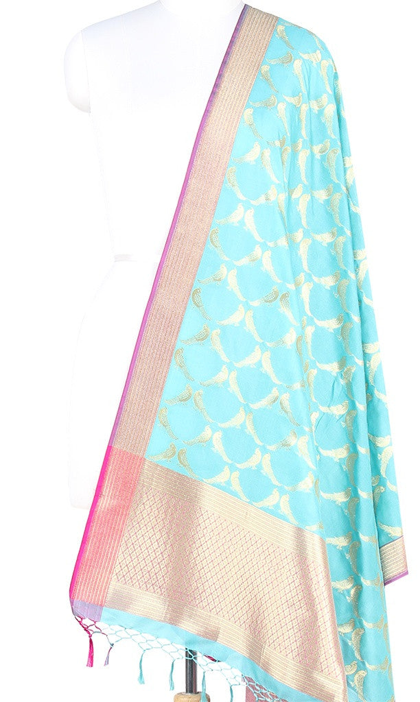 Turquoise Art Silk Banarasi dupatta with bird motifs (PCRVDP03) (1) Main