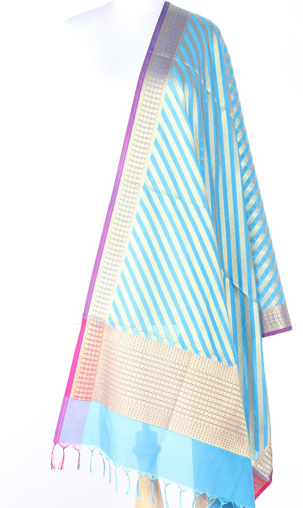Turquoise Art Silk Banarasi dupatta with diagonal stripe of gold zari SSRVD01N102 (1) Main