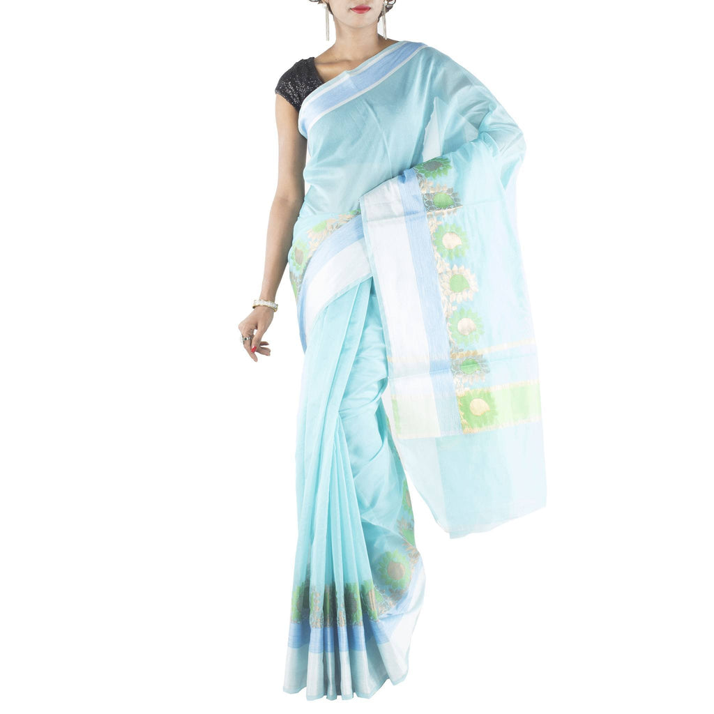 Turquoise Art Silk Saree with Floral jaal border and zari work