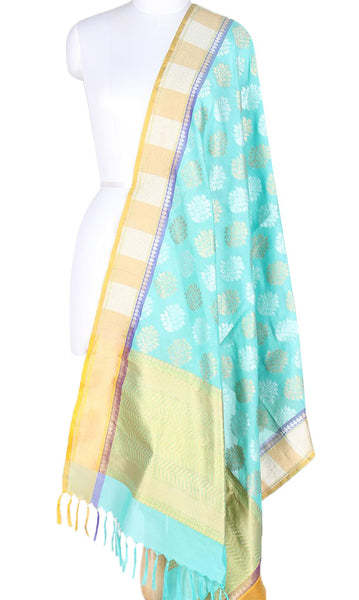 Turquoise Banarasi Silk Dupatta with floral motifs and dual zari work PCPBD01SG12 (1) Main