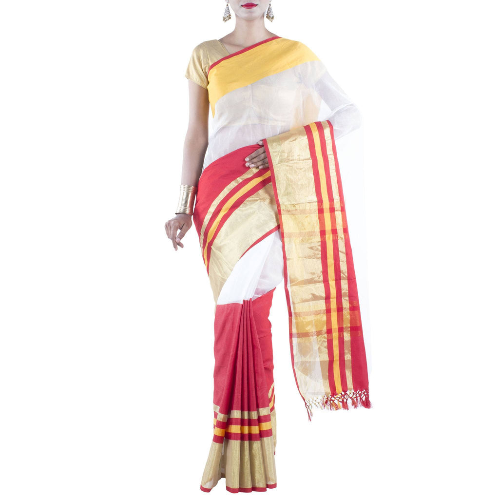 White and Red color Art Silk Saree with Zari work