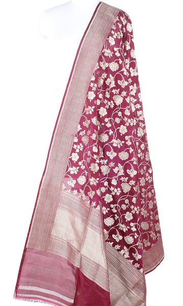 Wine Katan Silk Handwoven Banarasi dupatta with flower jaal PCARS05KS12 (1) Main
