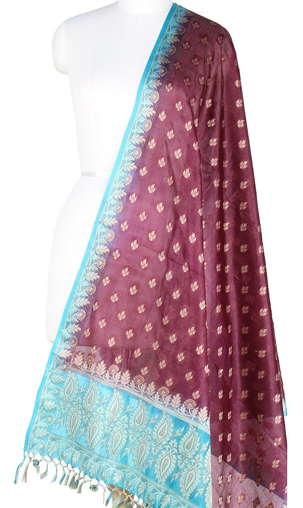 Wine Tussar Silk Banarasi dupatta with leaf motifs PC01TS05 (1) Main