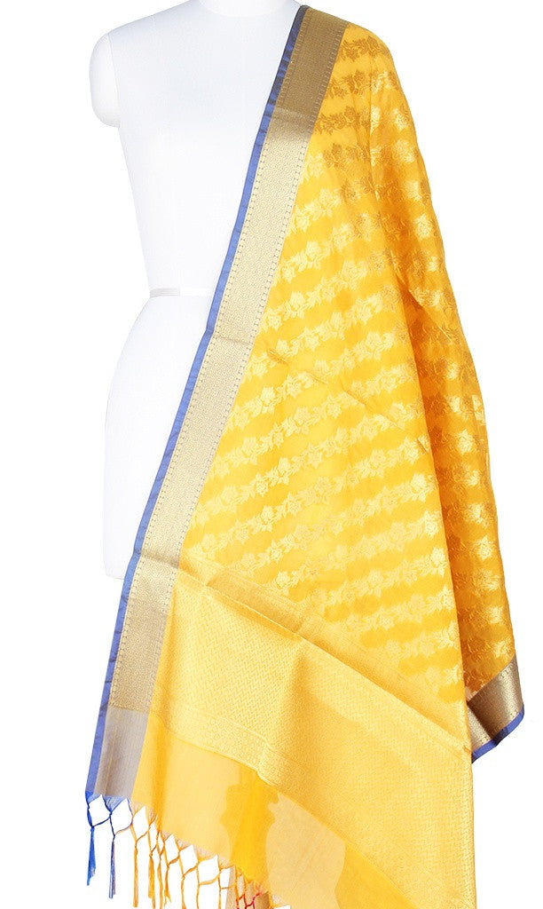 Yellow Art Silk Banarasi Dupatta with Diagonal floral jaal Main Image