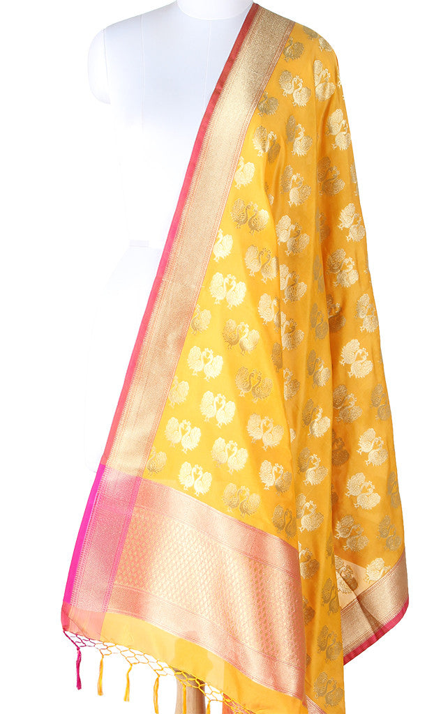 Yellow Art Silk Banarasi Dupatta with Peacock motifs SSRVDAS573 (1) Main