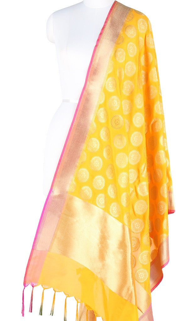 Yellow Art Silk Banarasi Dupatta with aesthetic sun motifs PCJB01N14 (1) Main