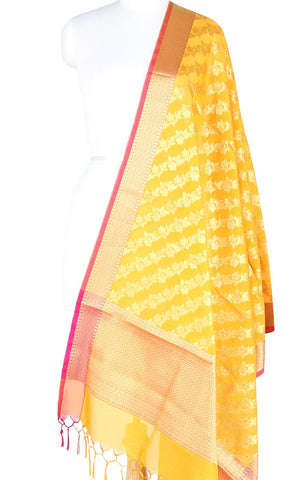 Yellow Art Silk Banarasi Dupatta with diagonal floral jaal PCRVD01N51 (1) Main