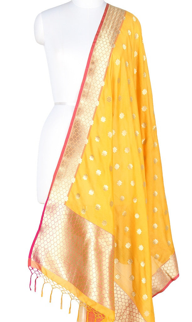 Yellow Art Silk Banarasi Dupatta with flower booti PCRVDAS408 (1) Main