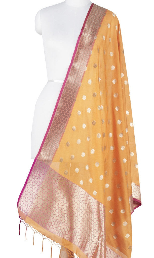 Yellow Art Silk Banarasi Dupatta with mini floral motifs Main Image