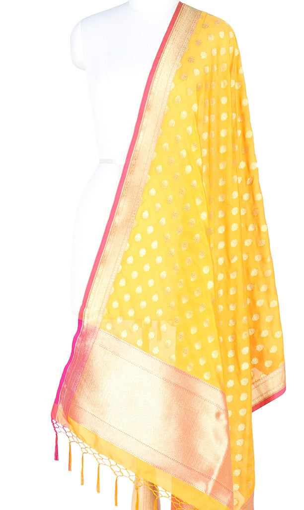 Yellow Art Silk Banarasi Dupatta with mini lotus motifs PCRVDAS135 (1) MAIN