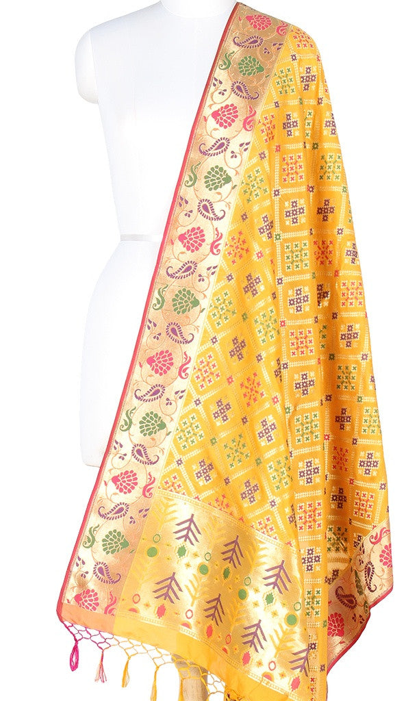 Yellow Art Silk Banarasi Dupatta with patola pattern and paithani border PCRVD01P15 (1) Main