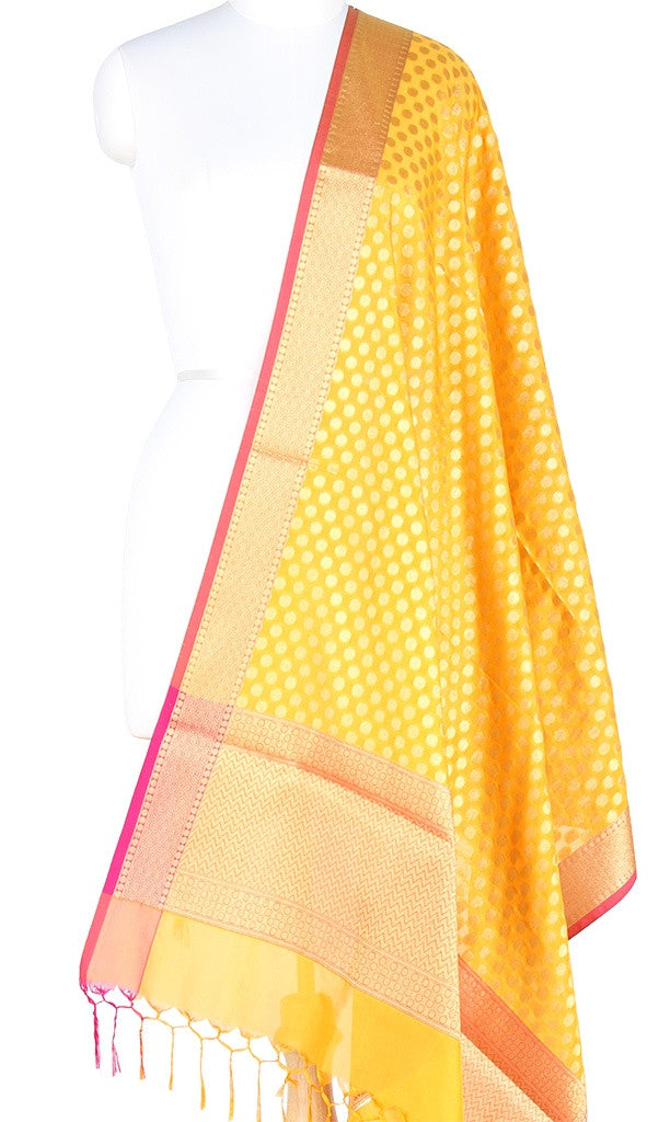 Yellow Art Silk Banarasi Dupatta with polka dots and zari work PCRVD01N47 (1) Main
