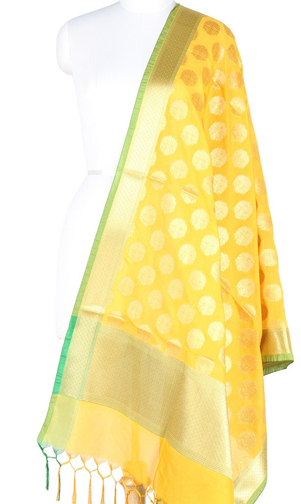 Yellow Art Silk Banarasi Dupatta with stylized boota and green edge PCRVD01N41 (1) Main
