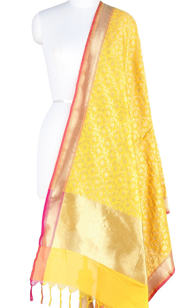 Yellow Art Silk Banarasi Dupatta with stylized floral jaal PCJB01N05 (1) Main
