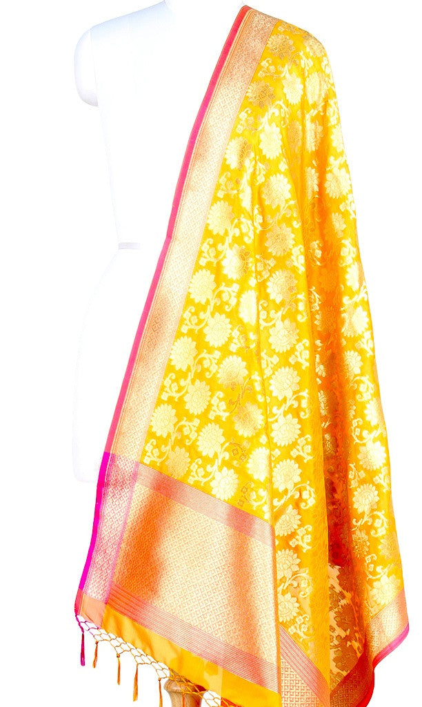 Yellow Art Silk Banarasi Dupatta with sunflower motifs (PCRVDAS04) (1) Main