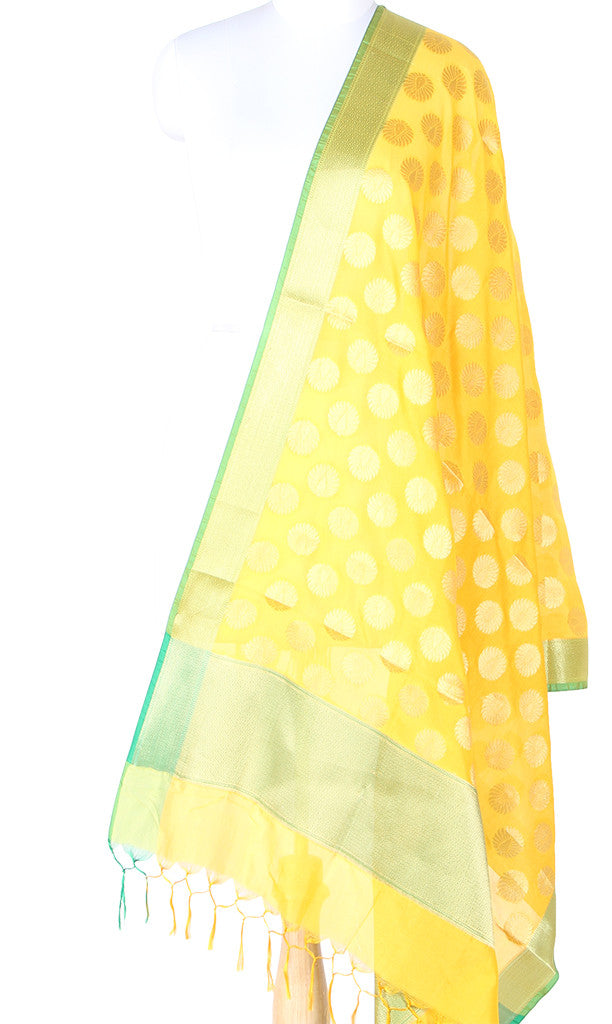 Yellow Art Silk Banarasi dupatta with Artistic Boota SSRVD01N115 (1) Main