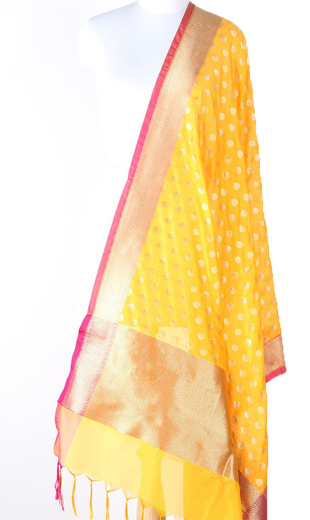 Yellow Art Silk Banarasi dupatta with flower bud motifs and pink edge SSJB01N108 (1) Main
