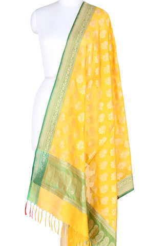 Yellow Banarasi Silk Dupatta with flower motifs PCPBD03S29 (1) Main