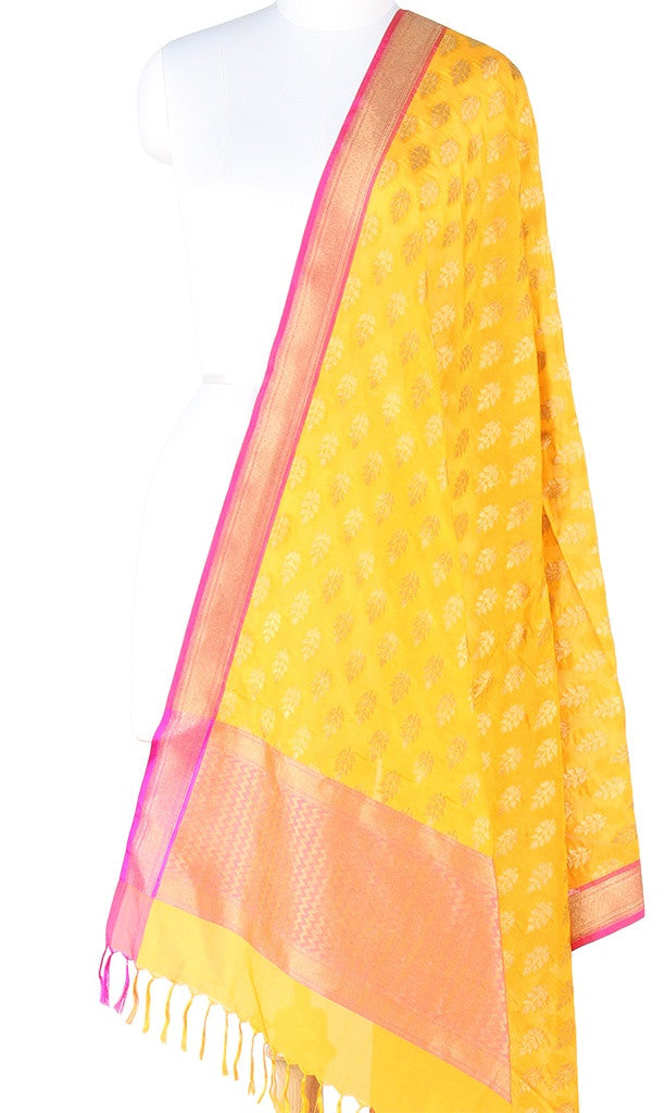 Yellow Banarasi Silk Dupatta with leaf motifs and zari work (PCPBD02S06) (1) Main