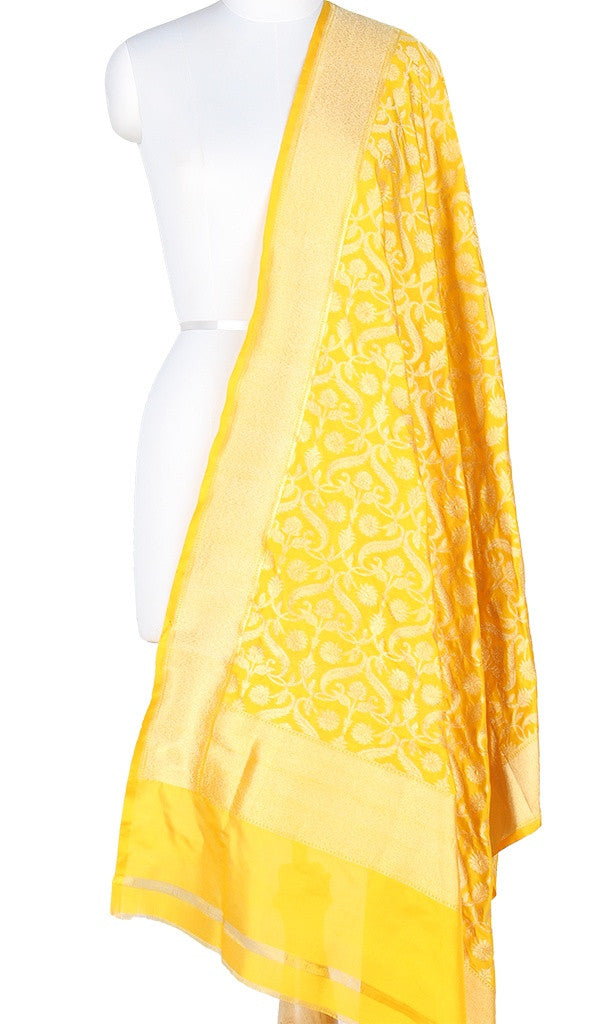 Yellow Katan Silk Banarasi Dupatta with stylized jaal and Zari work PCRVD05K07 (1) Main