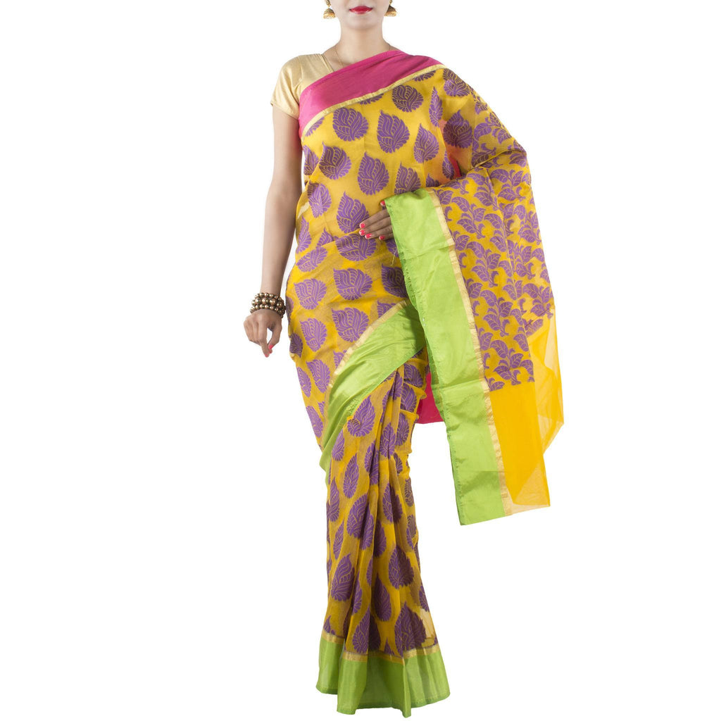Yellow Kora Art Silk Saree with Purple Leaf booti and zari work