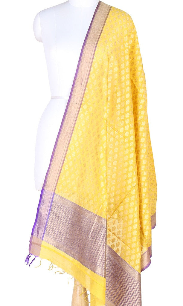 Yellow Silk Cotton Banarasi Dupatta with artistic flower booti PCPBD02SC14 (1) Main