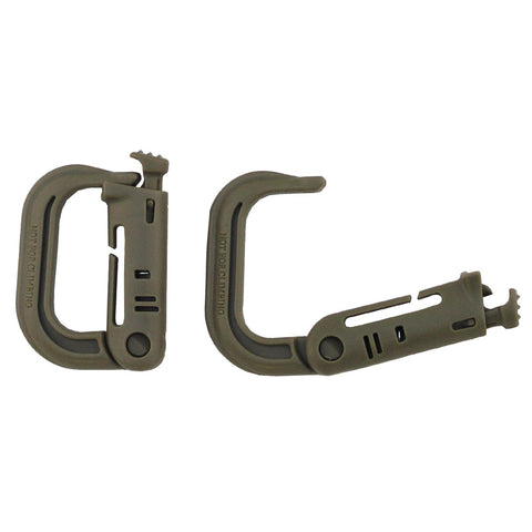 Fox Carabiner plastic Molle Coyote tan two pack