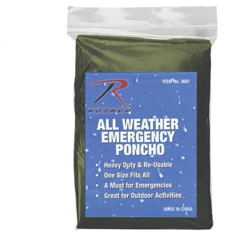 ROTHCO Emergency Poncho pack of 5
