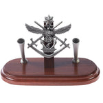 Desk Set Pewter Australian Tri Service Military Desk Set Double Pen Holder