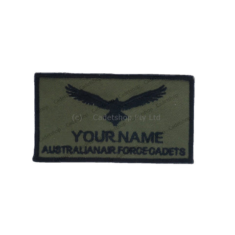 WEDGETAIL Name Tag AAFC Flying Jacket Pilot Black on Olive