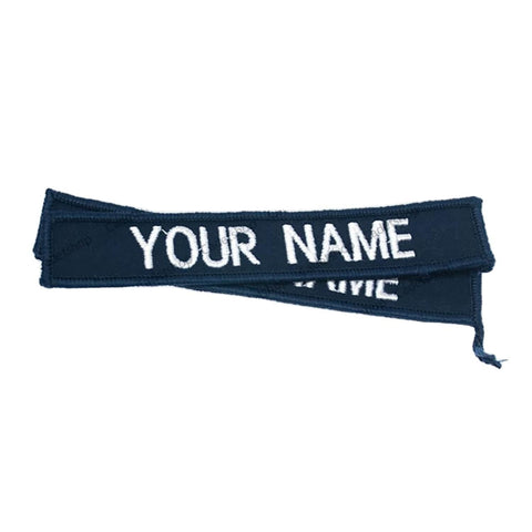 WEDGETAIL Embroidered Personalised Name Tag White on Blue