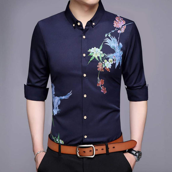 men's button down shirt with swallow print