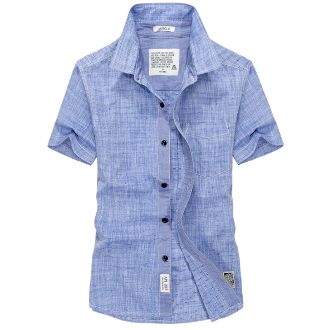 Mens Blue Short Sleeve Oxford Shirt