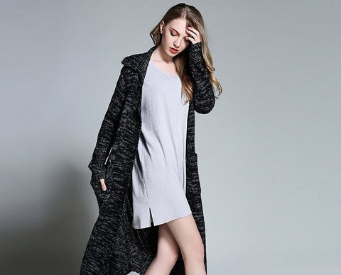 Women Cable Knit Long Cardigan with Pockets