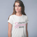 Faith Courage Hope Pink Ribbon Awareness T-Shirt