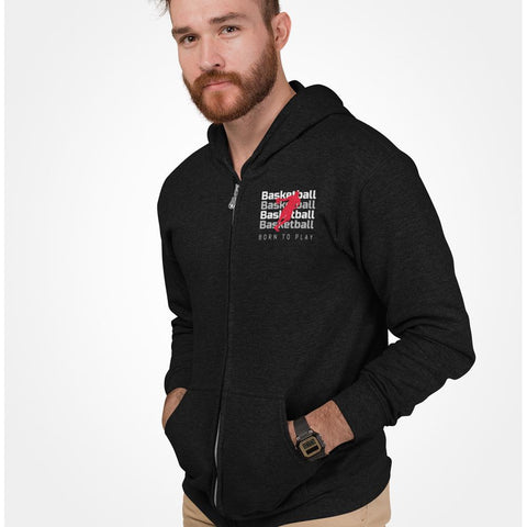 mens cotton/polyester black full zip hoodie with basketball logo - AmtifyDirect