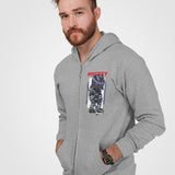 mens cotton/polyester gray hockey theme full zip hoodie - AmtifyDirect