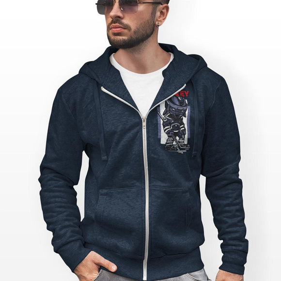 mens cotton/polyester navy hockey theme full zip hoodie - AmtifyDirect
