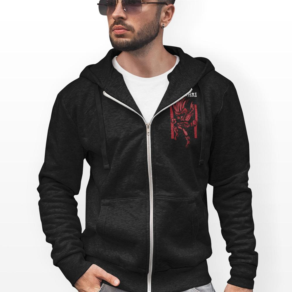 mens black cotton/polyester full zipper muay thai hoodie - AmtifyDirect